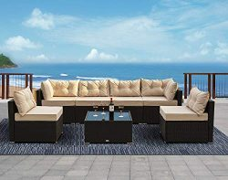 Urest 7 Pieces Patio PE Rattan Sofa Set Outdoor Sectional Furniture Wicker Chair Conversation Se ...