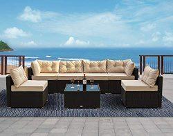 Urest 7 Pieces Patio PE Rattan Sofa Set Outdoor Sectional Furniture Wicker Chair Conversation Se ...