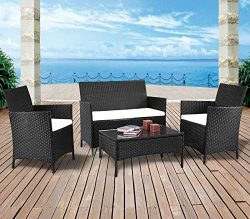 mecor 4PC Outdoor Furniture Set,Rattan Wicker Patio Set Cushioned Sectional Sofa &Glass Coff ...