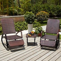 PAMAPIC Outdoor Patio Furniture 3-Piece Wicker Rocking Chair Rattan Adjustable Chaise Lounge Cha ...