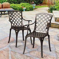 Giantex Aluminum Arm Dining Chairs Set of 2, Durable Cast Solid Construction, Outdoor Patio Bist ...