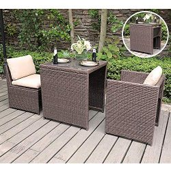 SUNSITT Outdoor Wicker Bistro Table Set 3 Piece Patio Furniture Set with Cushions, Space Saving  ...