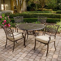 Hanover TRADITIONS5PC Traditions 5-Piece Deep-Cushioned Dining Set Outdoor Furniture, 48″, Tan