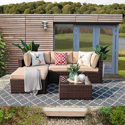 Patiorama 5PC Outdoor Patio Furniture Set All Weather Wicker Patio Sectional Sofa Set with Corne ...