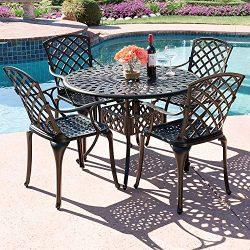 Kinger Home 5-Piece Cast Aluminum Patio Dining Set w/ 4 Chairs, Umbrella Hole, Lattice Weave Des ...