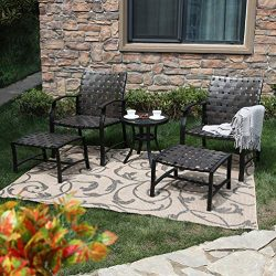 PHI VILLA 5 Piece Leather-Ware Outdoor Patio Conversation Set with 2 Chairs 2 Ottomans and Glass ...