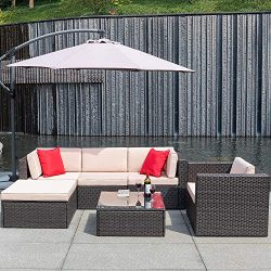 Flamaker 6 Pieces Patio Furniture Set Wicker Sectional Furniture Outdoor Sectional Sofa All-Weat ...