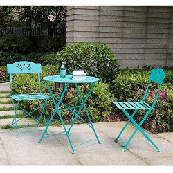 Orange-Casual 3-Piece Patio Bistro Set Steel Folding Dining Table and Chairs Garden Backyard Out ...