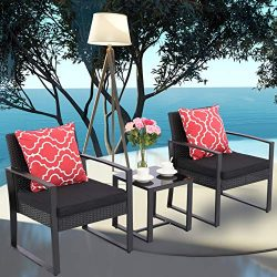 Do4U 3 Pieces Patio Set Outdoor Wicker Patio Furniture Sets Modern Bistro Set Rattan Chairs with ...