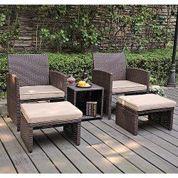 OC Orange-Casual 5 Pcs Patio Conversation Set Outdoor Furniture Set with Beige Cushions, Ottoman ...