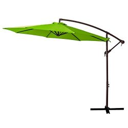 FLAME&SHADE 10′ Offset Hanging Cantilever Umbrella Market Style for Large Outdoor Pati ...
