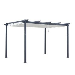 ALEKO PERGWT10X13 Aluminum Outdoor Retractable Canopy Pergola – 13 x 10 Ft – Cream W ...