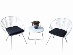 Kozyard Emily 3 Pieces Patio/Balcony Bistro Set with Stylish Iron Bar Minimalist Design Morden S ...