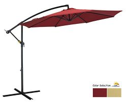 Patio Watcher 10ft Offset Cantilever Patio Umbrella Outdoor Market Hanging Umbrella with Crank & ...