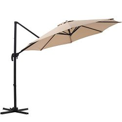 SUPERJARE 10 Ft Offset Hanging Umbrella, Crank Lift & 5 Lock Positions, 360° Rotation, Outdo ...