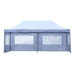 DOIT 10ft x 20ft Outdoor Pop up Shade Instant Folding Canopy with 4 Removable Side Walls,Party T ...