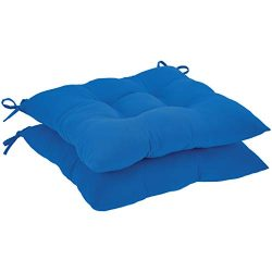 AmazonBasics Tufted Outdoor Square Seat Patio Cushion – Pack of 2, Blue