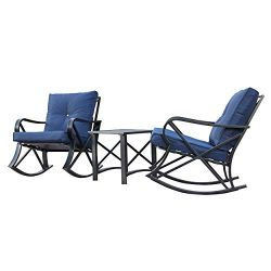 LOKATSE HOME 3 Piece Patio Outdoor Rocking Chair Bistro Sets with Coffee Table, Blue Cushions