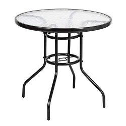 VINGLI Outdoor Dining Table, 32″ Round Patio Bistro Tempered Glass Table Top with Umbrella ...