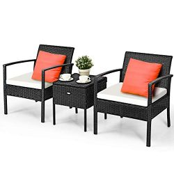 Tangkula 3 Piece Patio Conversation Set, Outdoor Wicker Rattan Conversation Set with Storage Cof ...
