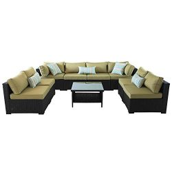 VALITA Outdoor PE Wicker Sofa Set 9 Pieces Patio Rattan Sectional Conversation Chair Furniture B ...