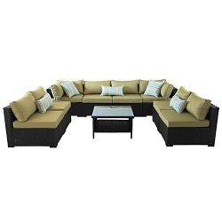 VALITA Outdoor PE Wicker Sofa Set 9 Pieces Patio Rattan Sectional Conversation Chair Furniture B ...