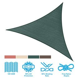PHI VILLA Sun Shade Sail Triangle 16.5'x16.5'x16.5′ Dark Green Patio Canopy Co ...