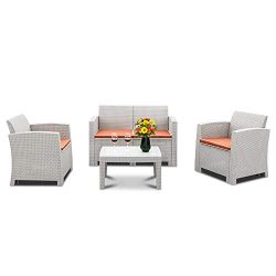 Bonnlo 4 Piece Patio Furniture Set, Rattan Table Chair Set, Conversation Set with Removable Cush ...