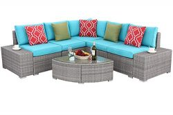 Do4U 6 PCs Outdoor Patio PE Rattan Wicker Sofa Sectional Furniture Set Conversation Set- Turquoi ...