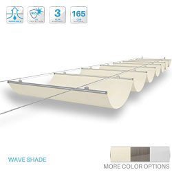 PATIO Paradise 3'Wx16'L Beige Retractable Pergola Canopy Replacement Shade Cover Sli ...