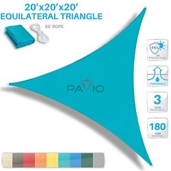 Patio Paradise 20′ x 20′ x 20′ Turquoise Green Sun Shade Sail Equilateral Tria ...