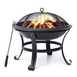 "KingSo Outdoor Fire Pit 22"" Patio Fire Steel BBQ Grill Fire Pit Bowl with Mesh Spark Scree ..."