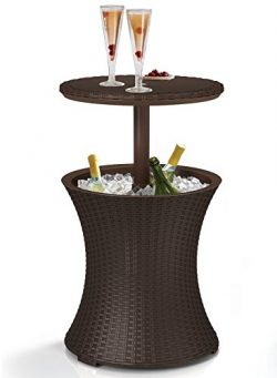Keter 7.5-Gal Cool Bar Rattan Style Outdoor Patio Pool Cooler Table, Brown (Renewed)