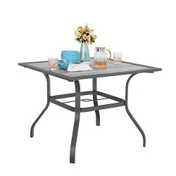 MF STUDIO 37″ x 37″ Patio Dining Table Square Backyard Bistro Table Outdoor Furnitur ...