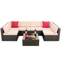 Hooseng Patio PE Rattan Sectional Garden Furniture Corner Sofa Set (7 Pieces,White)