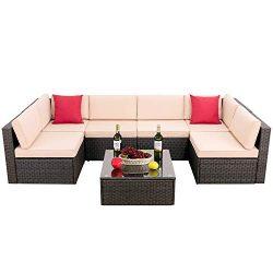 Hooseng Patio PE Rattan Sectional Garden Furniture Corner Sofa Set (7 Pieces,White)