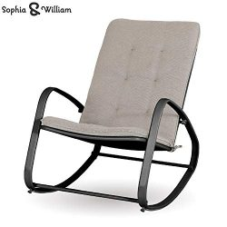 Sophia and William Outdoor Patio Rocking Chair Padded Steel Rocker Chair Support 300lbs, Black