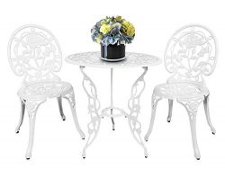 HOMEFUN Bistro Table Set, White Rose 3 Piece, Outdoor Patio Table and Chairs Furniture, Durable  ...