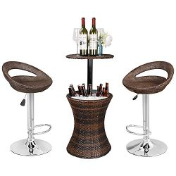 ZENSTYLE Rattan Style Height Adjustable Cool Bar Outdoor Patio Table with Ice Bucket + Swivel Ba ...