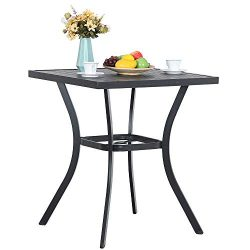 PHI VILLA 31″ Metal Patio Height Bar Table Bistro Square Dining Table Outdoor Furniture St ...