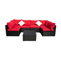 Outdoor Basic Patio Furniture 7-Pieces PE Rattan Wicker Sectional Red Cushioned Sofa Sets with 2 ...