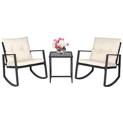 SUNCROWN Outdoor Patio Furniture 3-Piece Bistro Set Black Wicker Rocking Chair – Two Chair ...