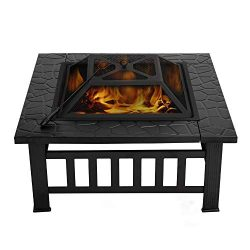 VIVOHOME Heavy Duty Metal Square Patio Backyard Firepit Table with Spark Screen Cover Log Grate  ...