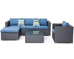 SUNCROWN Outdoor Furniture Sectional Sofa and Chair (6-Piece Set) All-Weather Checkered Wicker w ...