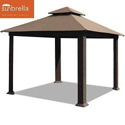 EliteShade 12×12 Sunbrella Titan Patio Outdoor Garden Backyard Gazebo (Sunbrella Cocoa)