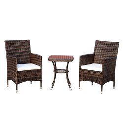 Outsunny 3 Piece Rattan Bistro Table Chairs Set Outdoor Cushioned – Brown