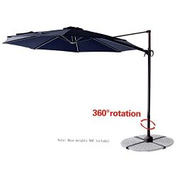 C-Hopetree 10′ Offset Cantilever Hanging Market Style Patio Umbrella with Tilt for Large O ...