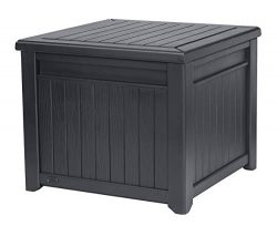 Keter 243644 Cube Wood-Look 55 Gallon All-Weather Garden Patio Storage Table, Grey