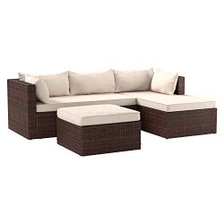 AmazonBasics 3 Piece Patio PE Wicker Rattan Corner Sofa Set