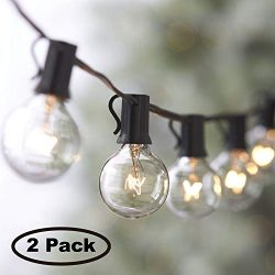 Lemontec String Lights,25FT Vintage Backyard Patio Lights with 25 Clear Globe Bulbs-UL listed fo ...